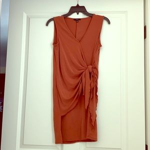 Rust V-Neck wrap dress